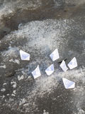 Small white paper boats Stock Photo