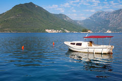 Small white pleasure boat floats in Perast Royalty Free Stock Photo