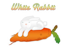 The small white rabbit and carrots Stock Images