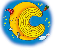 Moon maze. A small white rabbit want to eat the carrot on the moon Stock Photography