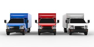 Small white, red, blue truck. Car delivery service. Delivery of goods and products to retail outlets. 3d rendering. Royalty Free Stock Images