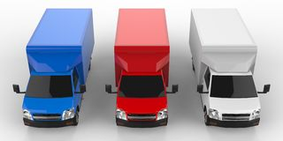 Small white, red, blue truck. Car delivery service. Delivery of goods and products to retail outlets. 3d rendering. Royalty Free Stock Photos