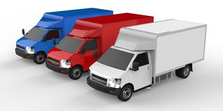 Small white, red, blue truck. Car delivery service. Delivery of goods and products to retail outlets. 3d rendering. Stock Photography