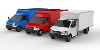Small white, red, blue truck. Car delivery service. Delivery of goods and products to retail outlets. 3d rendering. Small white, red, blue truck. Car delivery Stock Image