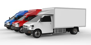 Small white, red, blue truck. Car delivery service. Delivery of goods and products to retail outlets. 3d rendering. Small white, red, blue truck. Car delivery Stock Images