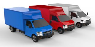 Small white, red, blue truck. Car delivery service. Delivery of goods and products to retail outlets. 3d rendering. Small white, red, blue truck. Car delivery Royalty Free Stock Photos
