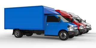 Small white, red, blue truck. Car delivery service. Delivery of goods and products to retail outlets. 3d rendering. Small white, red, blue truck. Car delivery Stock Photo