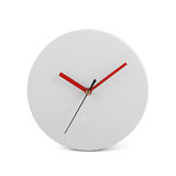 Small white simple round wall clock - watch isolated on white background. White simple round wall clock - watch isolated on white backgrond stock images