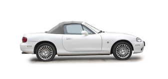 Small white sports car Stock Photos