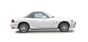Small white sports car stock photos