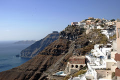 Small white wonderful houses of Santorini Stock Photo