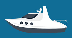Small white yacht for pleasant sea walks isolated illustration. Small white yacht with tinted glass and deck for sunbathes isolated cartoon vector illustration Stock Photo
