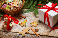 Small wicker basket full of gingerbread for Christmas Stock Image
