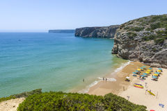 Small, wild beach at the Atlantic Ocean in Sagres, Portugal Royalty Free Stock Images