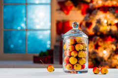 Small wild colorful apples in a jar Stock Photo