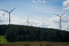 Small wind park in the countryside royalty free stock images