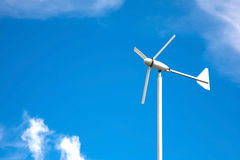 Small wind turbine. Ecology concept. space for text Royalty Free Stock Image