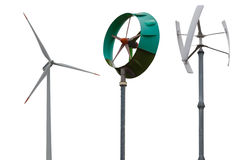 Small wind turbines. Isolated on white background. Royalty Free Stock Photography