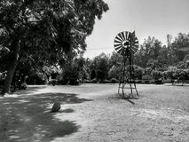 Small windmill project college. University blackandwhite Royalty Free Stock Photography