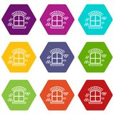 Small window frame icons set 9 vector. Small window frame icons 9 set coloful isolated on white for web vector illustration