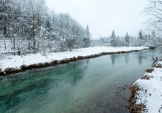 Small winter stream with snowy trees. Stock Image