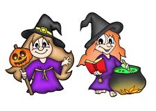 Small witches. Color illustration of two small witches Royalty Free Stock Images