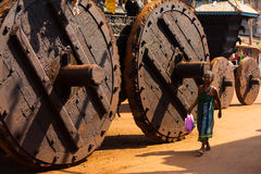 Small Woman Big Ratha Wooden Wheels Gokarna Stock Photo