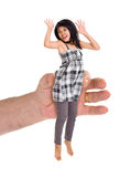 Small woman in large hand Royalty Free Stock Image
