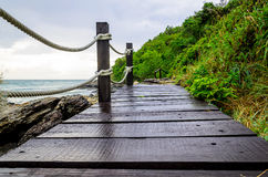 Small wood bridge near the seaside Stock Image