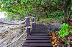 Small wood bridge near the seaside Stock Photos