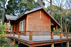 Small wood house. In forest royalty free stock photo