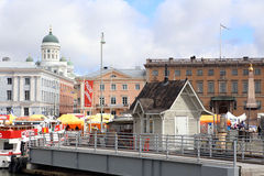 Small wood house on the pier in seaport of Helsinki, Finland Royalty Free Stock Image