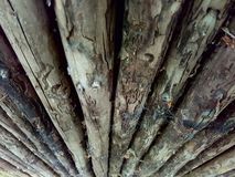 Small Wood log. From an old house in moesgaard garden Stock Photo
