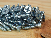 Small wood screws Royalty Free Stock Images