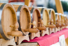 Small wooden barrels Royalty Free Stock Photography