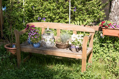 Small wooden bench with flowers Stock Image