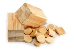 Small wooden blanks. Small blanks for furniture production Stock Photography