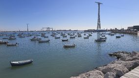 Boats in the port of the city of cadiz Royalty Free Stock Photography
