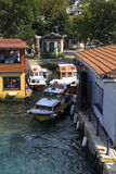 Small wooden boats in Bosphorus, Istanbul,Turkey. Royalty Free Stock Photography