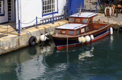 Small wooden boats in Bosphorus, Istanbul,Turkey. Royalty Free Stock Images