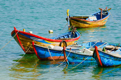 Small wooden boats in Dai Lanh wharf Royalty Free Stock Images