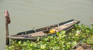 Small wooden boats of fisherman in the river royalty free stock image