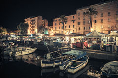 Small Wooden Boats Moored In Ajaccio At Night Royalty Free Stock Photo