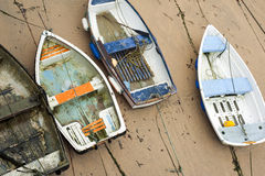 Small wooden boats in St Ives harbour Stock Photography