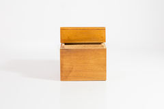 Small Wooden Box. On White Background stock images