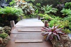 Small  wooden bridge in the garden. Small wooden bridge in garden Stock Image