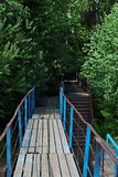 Small wooden bridge and stairs among green bushes. And trees at summer Stock Photography