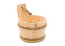 Small wooden bucket Stock Photo
