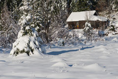 Small wooden  cabin in wildernes covered with fresh snow Stock Photography