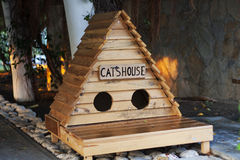 Small wooden cat's house Stock Image